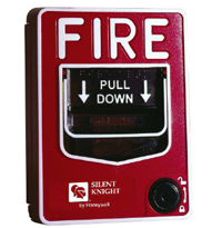 Traditional fire alarm with pull down handle